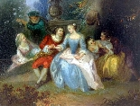Fantasia Galante Antoine WATTEAU (follower) ed una coppia-4