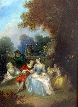 Fantasia Galante Antoine WATTEAU (follower) ed una coppia-0