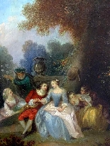Fantasia Galante Antoine WATTEAU (follower) ed una coppia-1