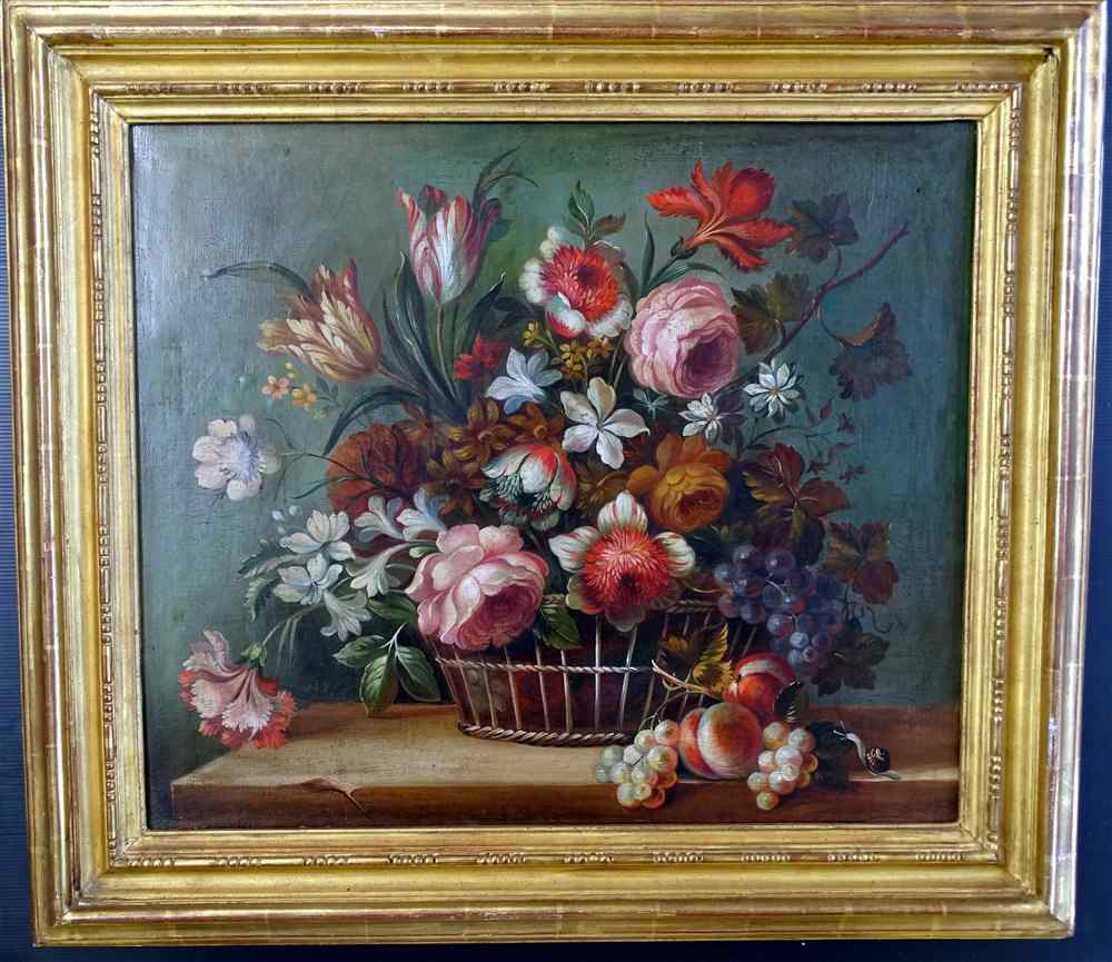 Flower basket in the manner of Antoine MONNOYER