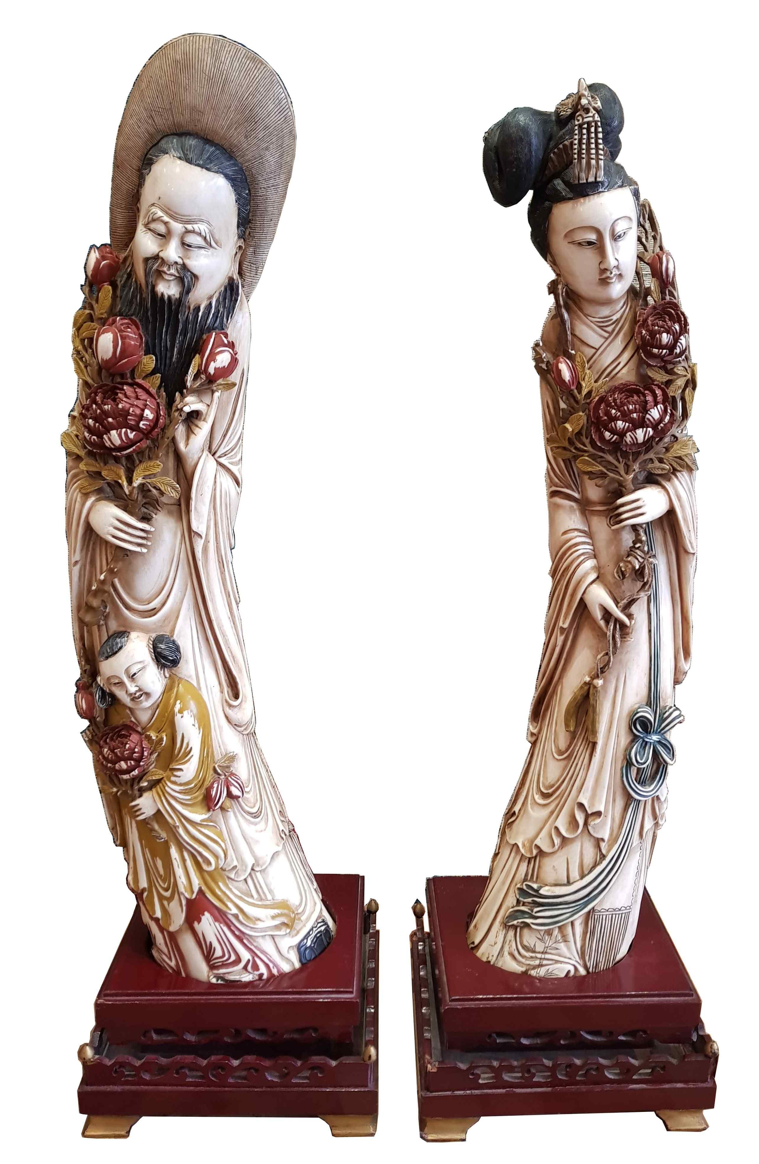 Пара император и imperatrie слоновой кости - Китай девятнадцатый