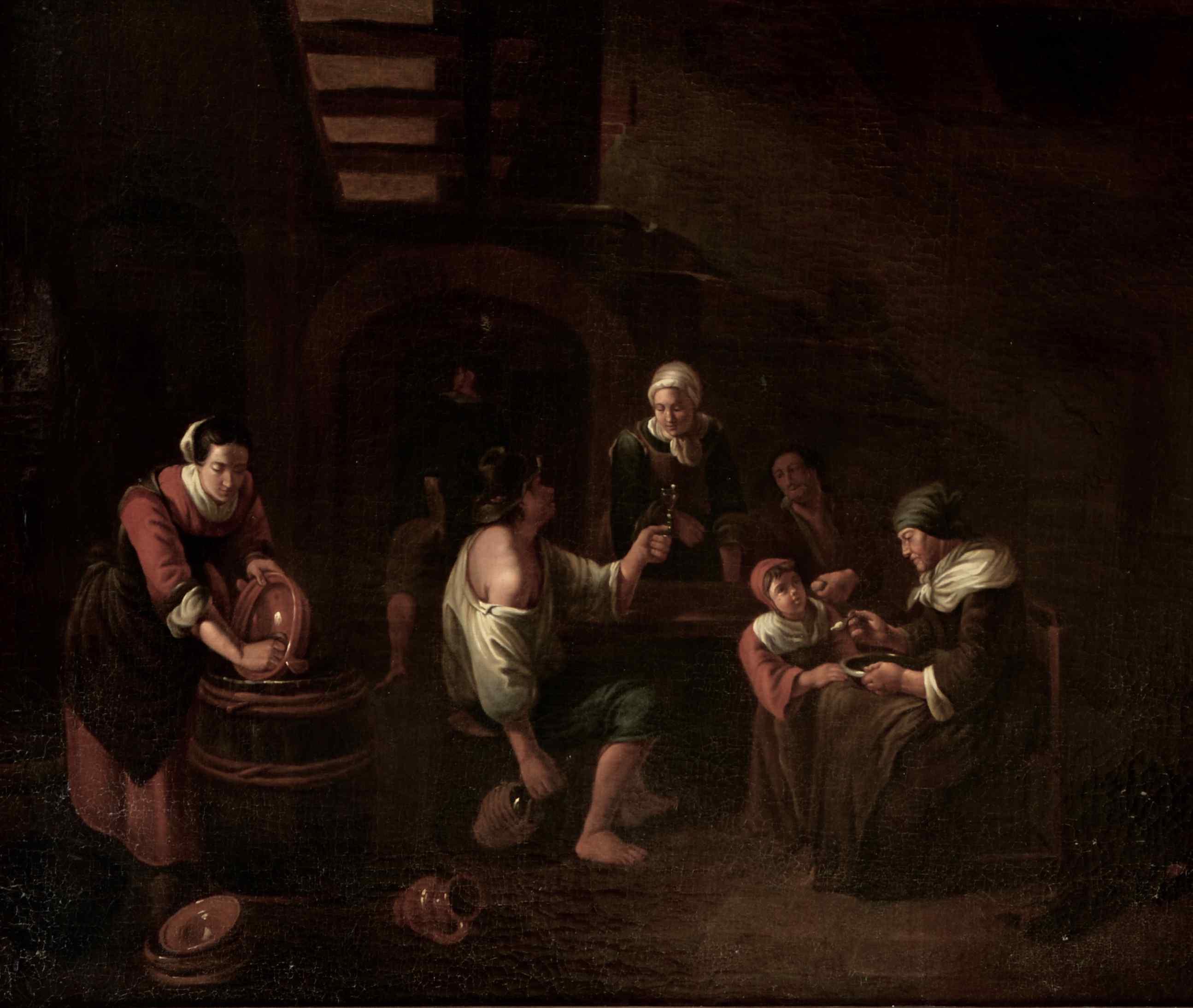 Scena di taverna, scuola olandese XVIII secolo