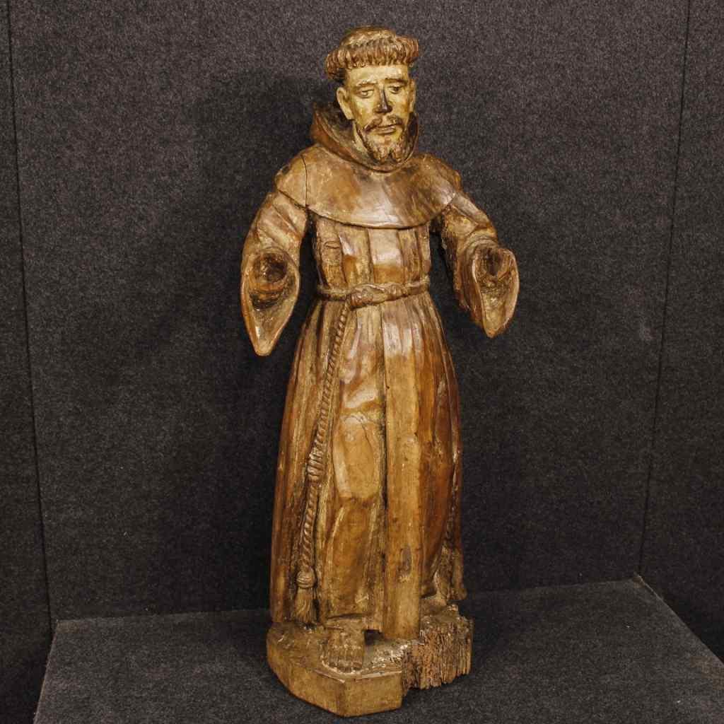 Antica scultura francese religiosa San Francesco