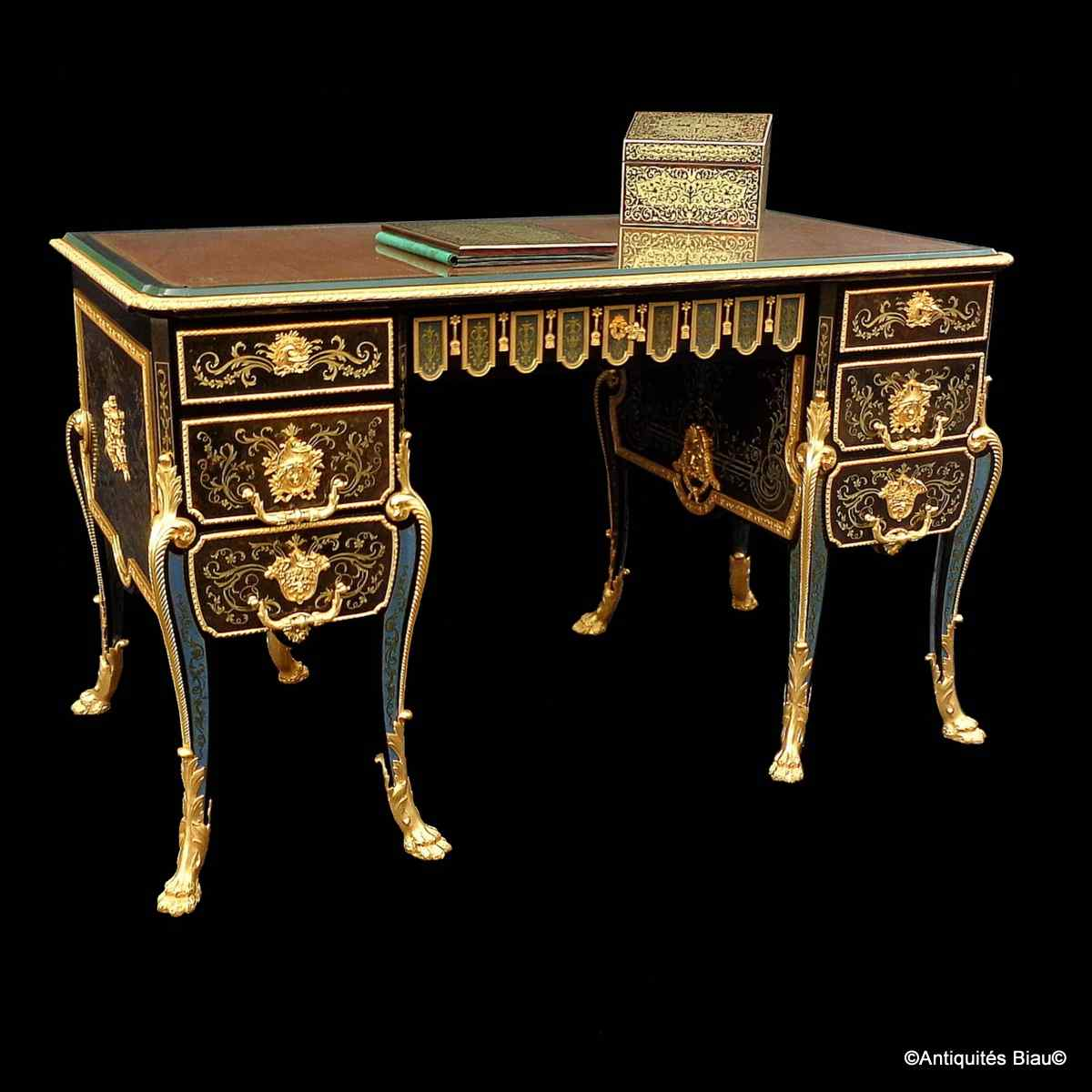 Desk in Boulle marquetry all sides opening 13 drawers  c1800