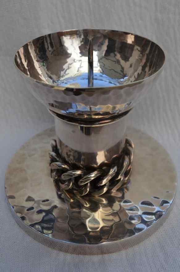 Porta candela in metallo argentato