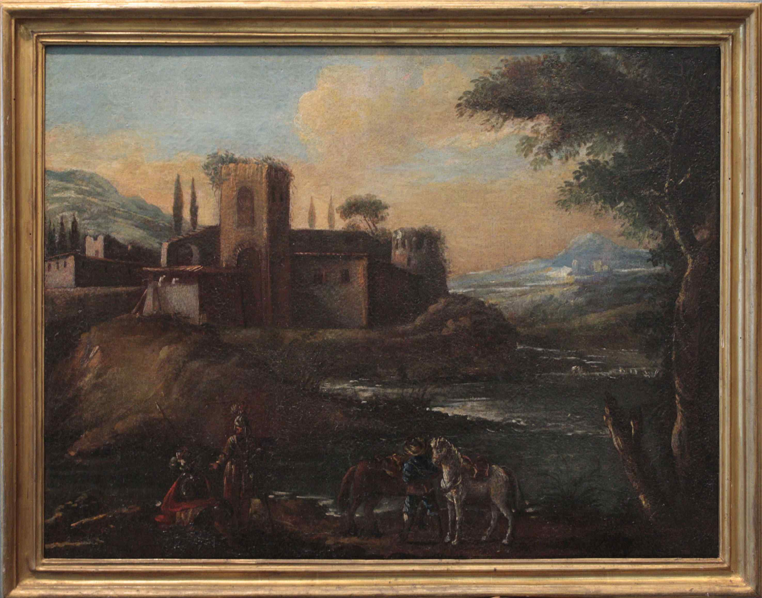 Paysage avec figures, sec. XVIII