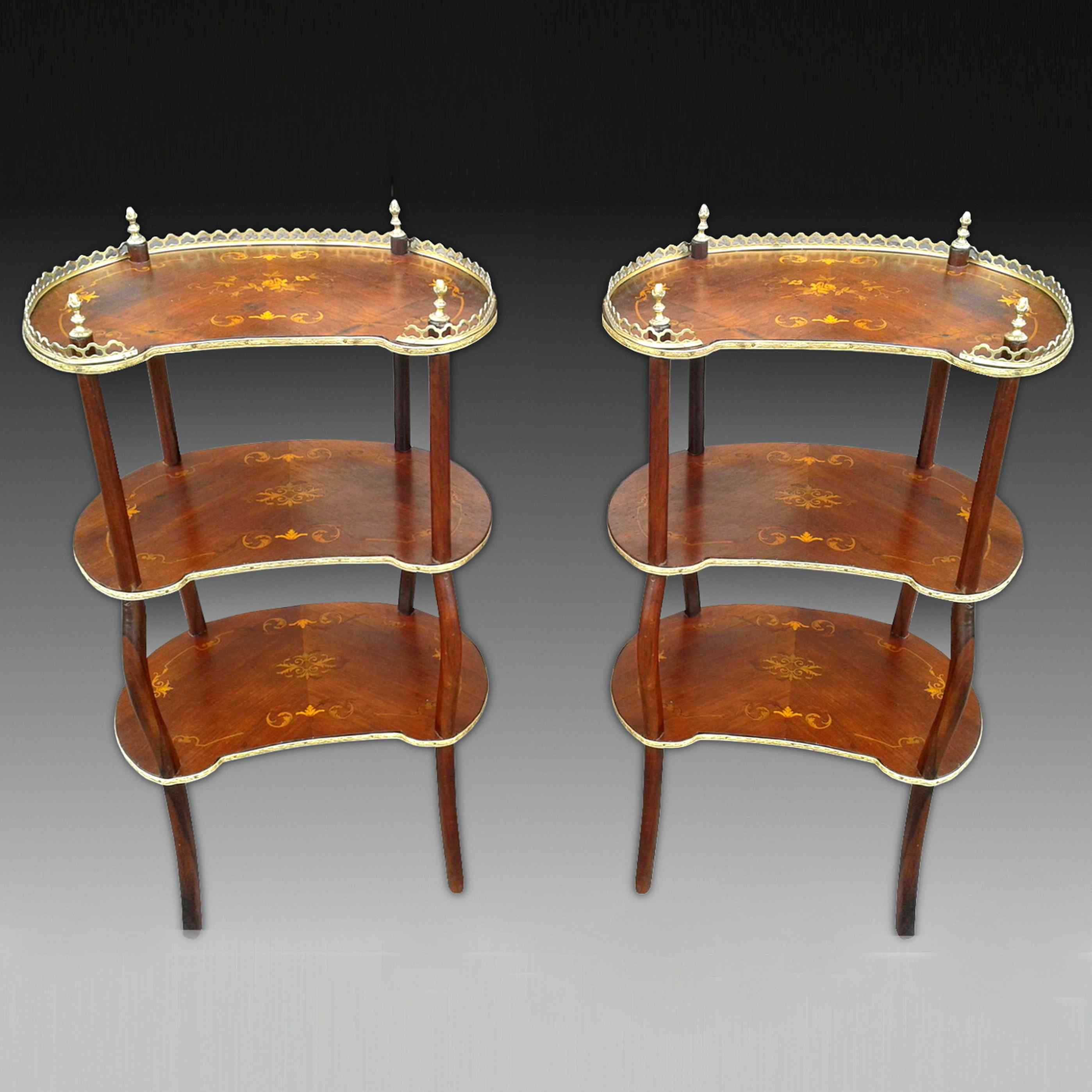 Antique Pair Napoleon III Etageres Shelves Tables -19th cent