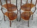 Antica Coppia Tavolini Etagere Napoleone III intarsi XIX sec-7