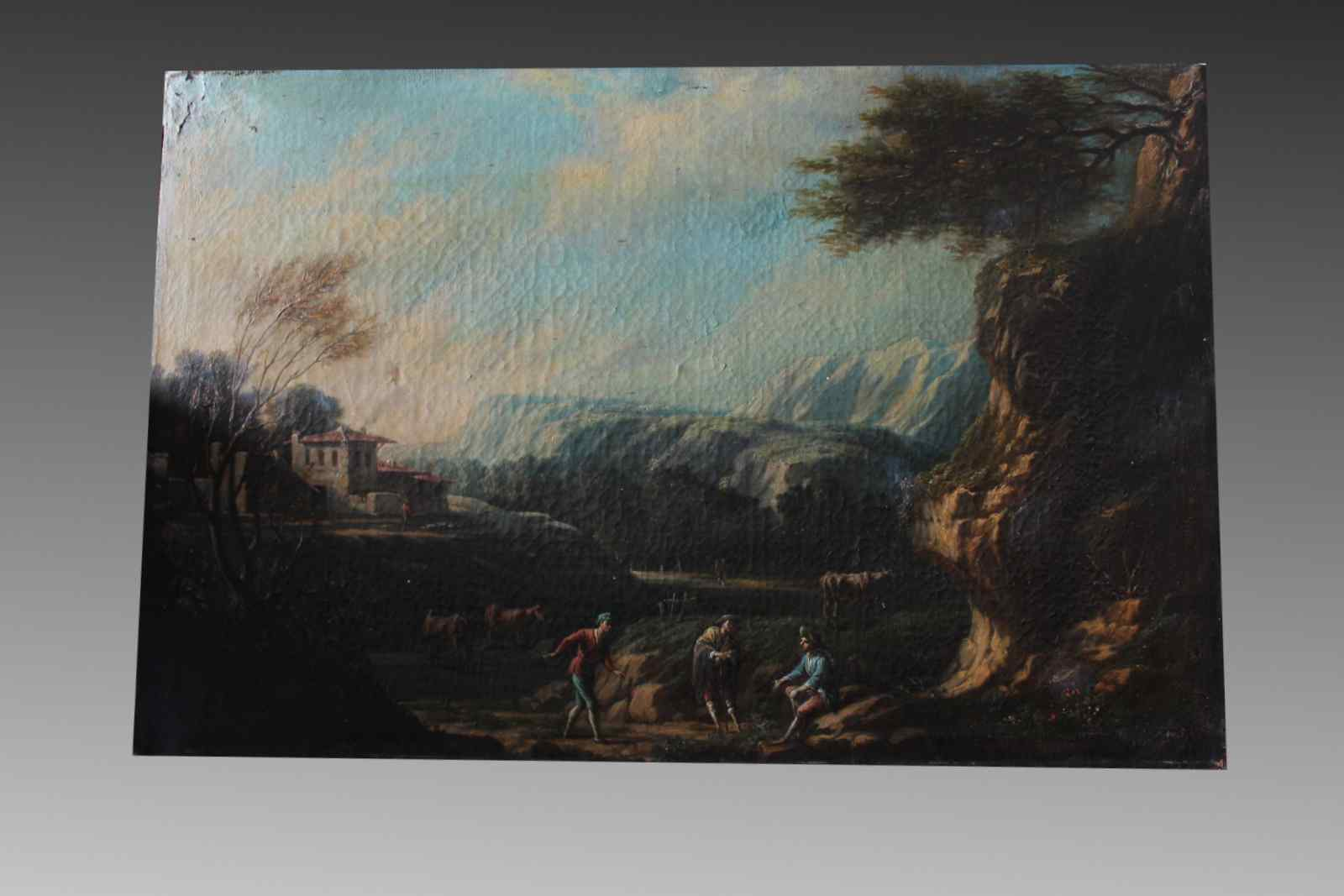 Oil painting on canvas depicting a scene of country life