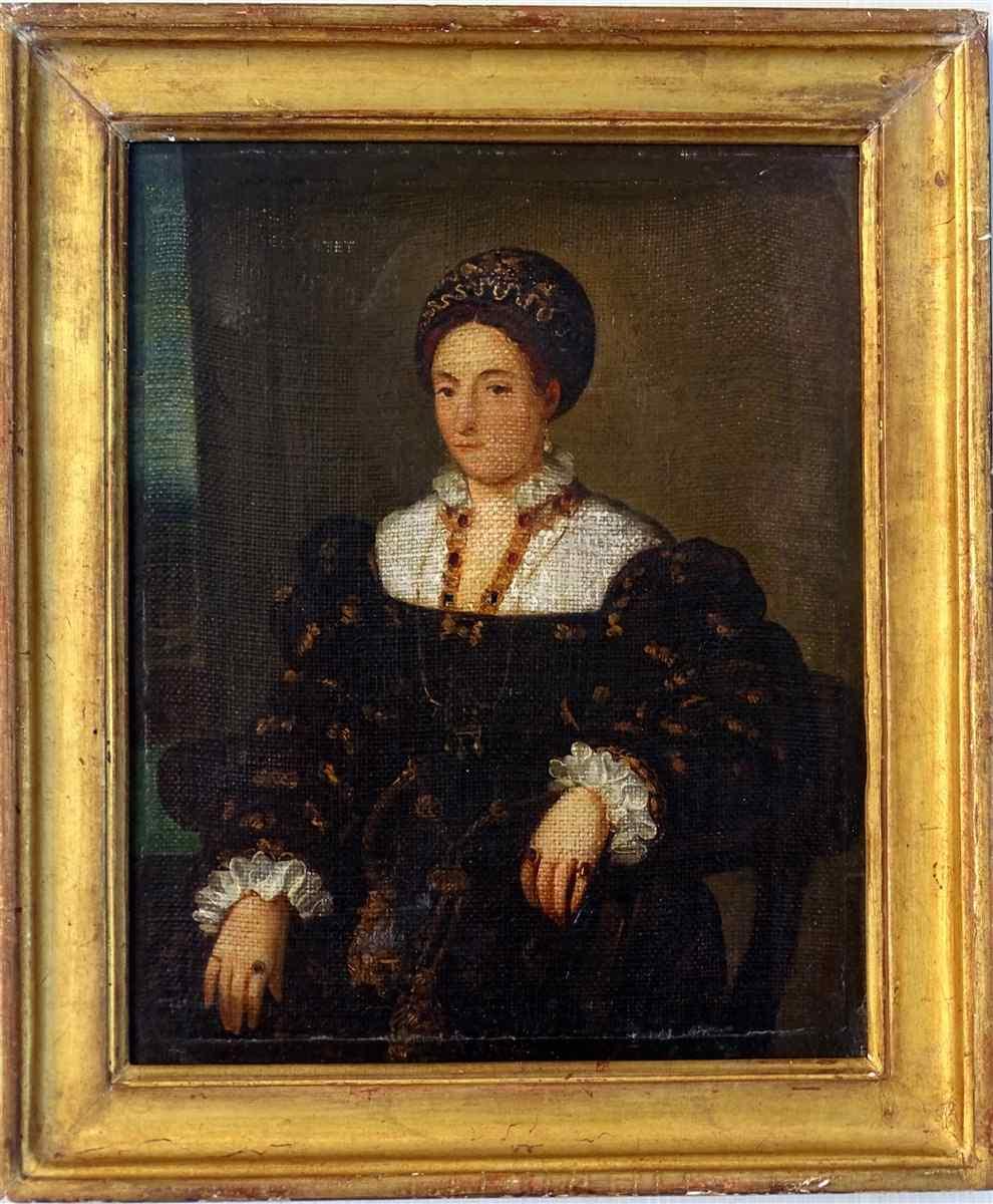 Elégant Portrait De Dame En Robe D'époque Ecole Française 17