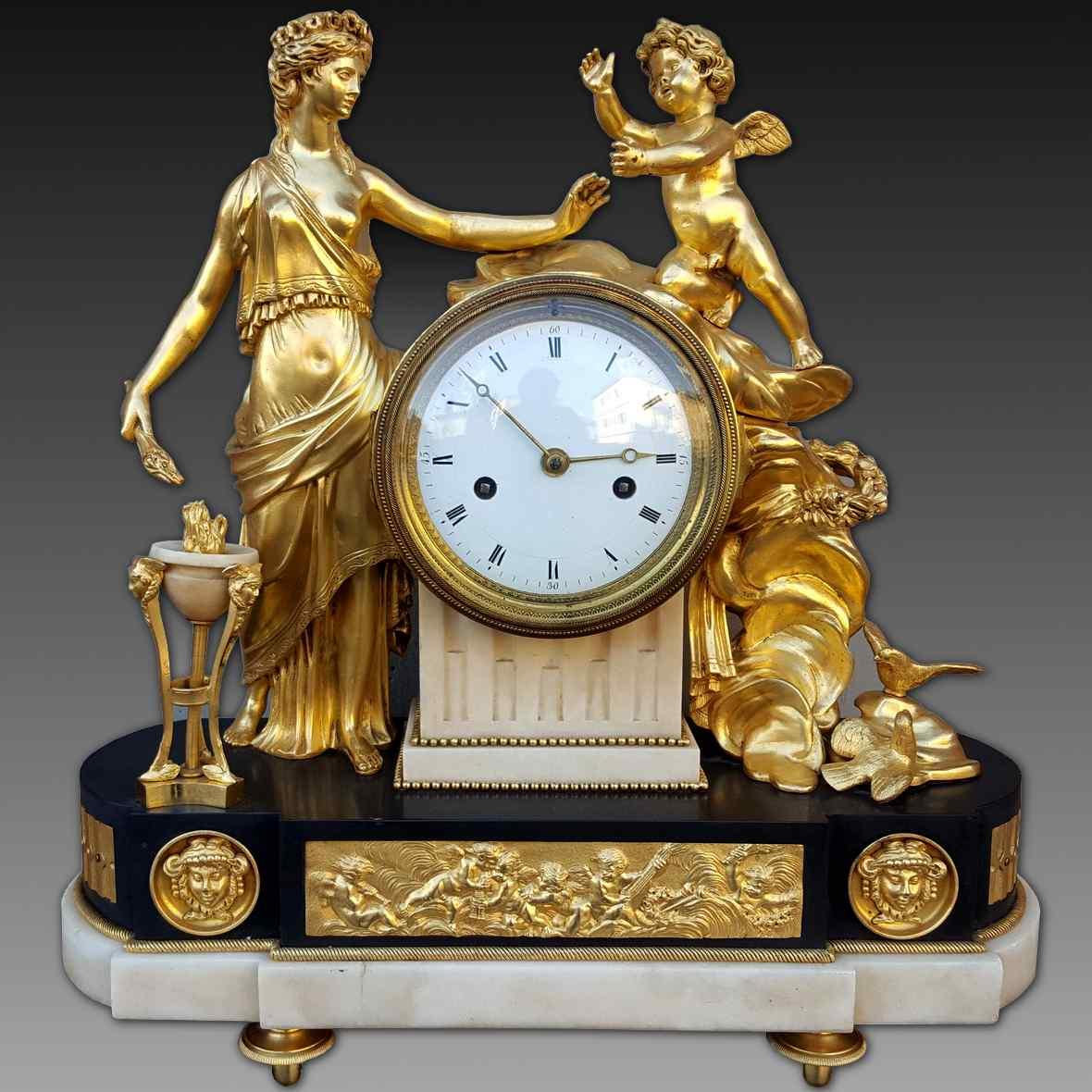 Ancien Horloge Pendule Louis XVI en bronze - 18ème siècle