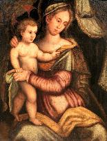 Scuola toscana inizio XVI secolo, Madonna con bambino-0