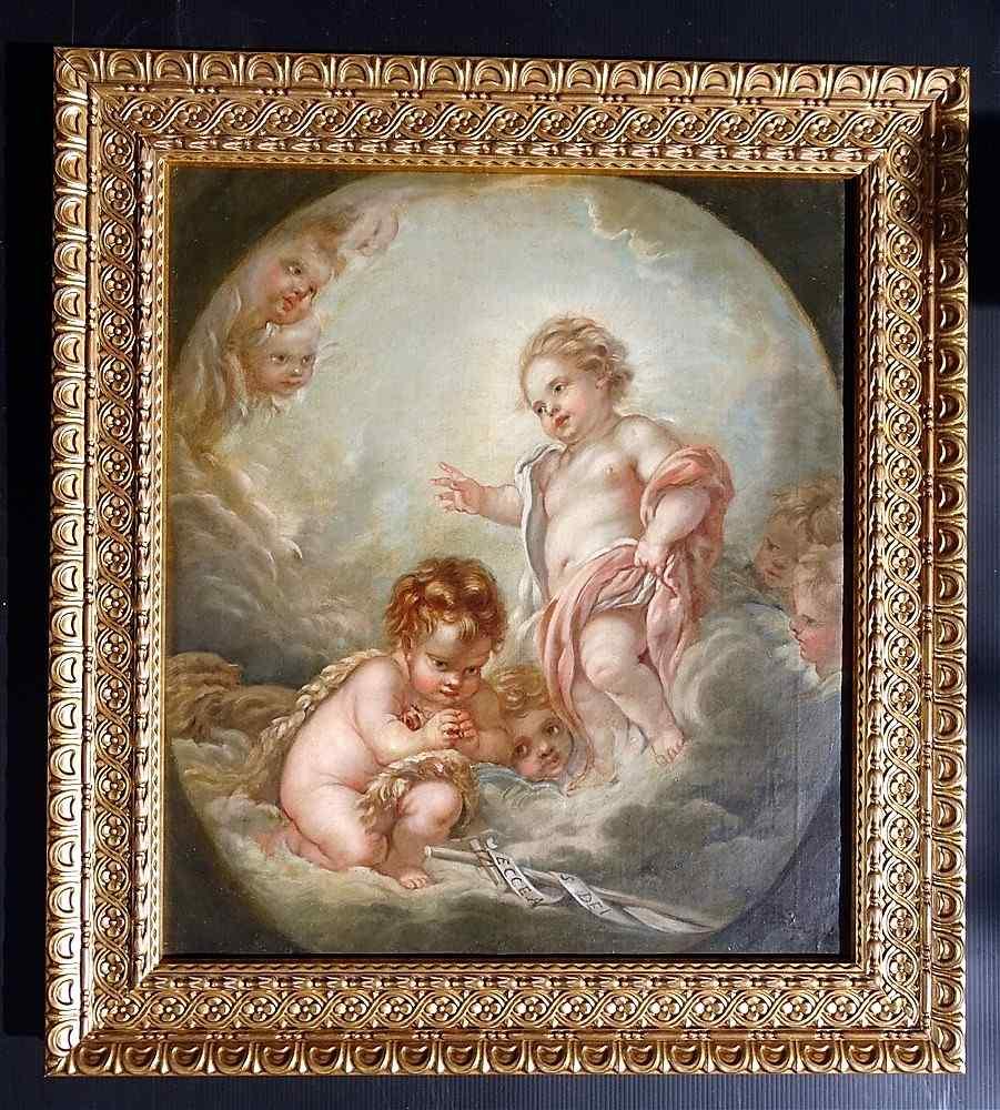 Scuola francese del XIX Gesù, San Giovanni & Angels