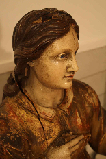 Sainte Philomène, grande sculpture en bois XIXème siècle-6