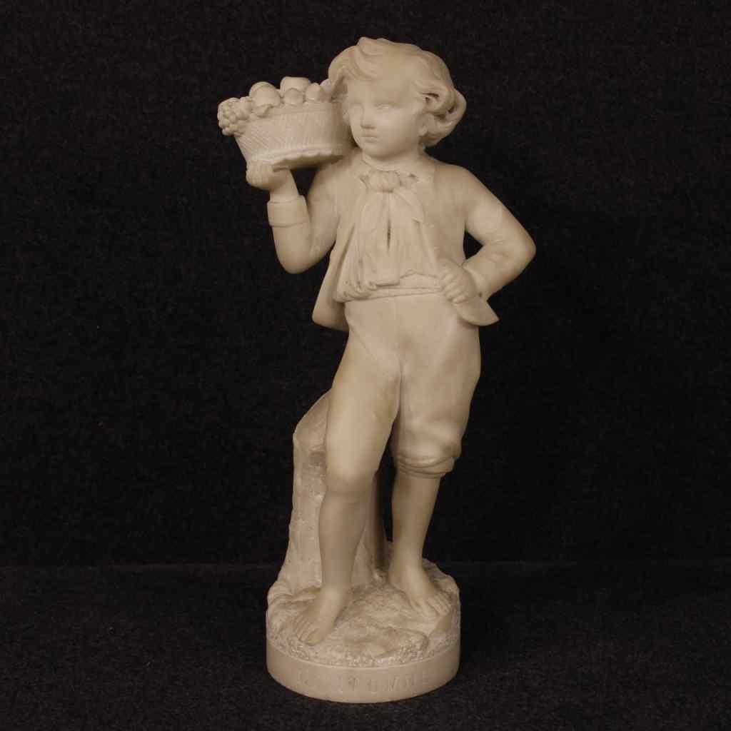 Sculpture française en albâtre représentation de l'automne