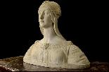 Buste d'une jeune fille en marbre blanc de Carrare du XIXe s-1