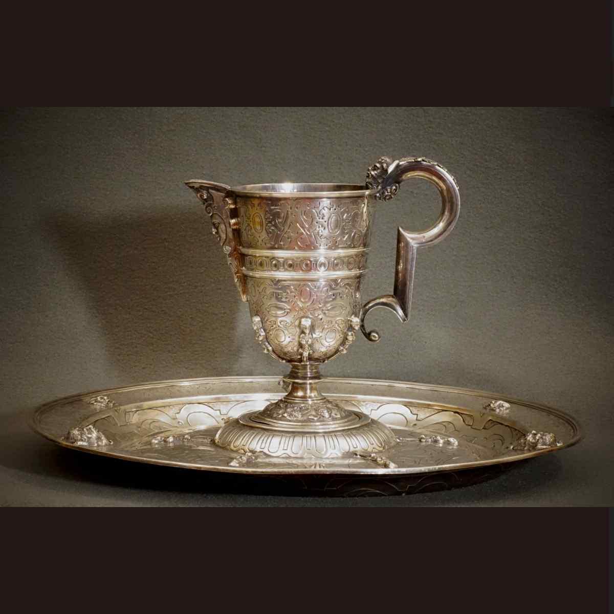 Редкий Кувшин и его поднос серебряного стиль XVI XIXth