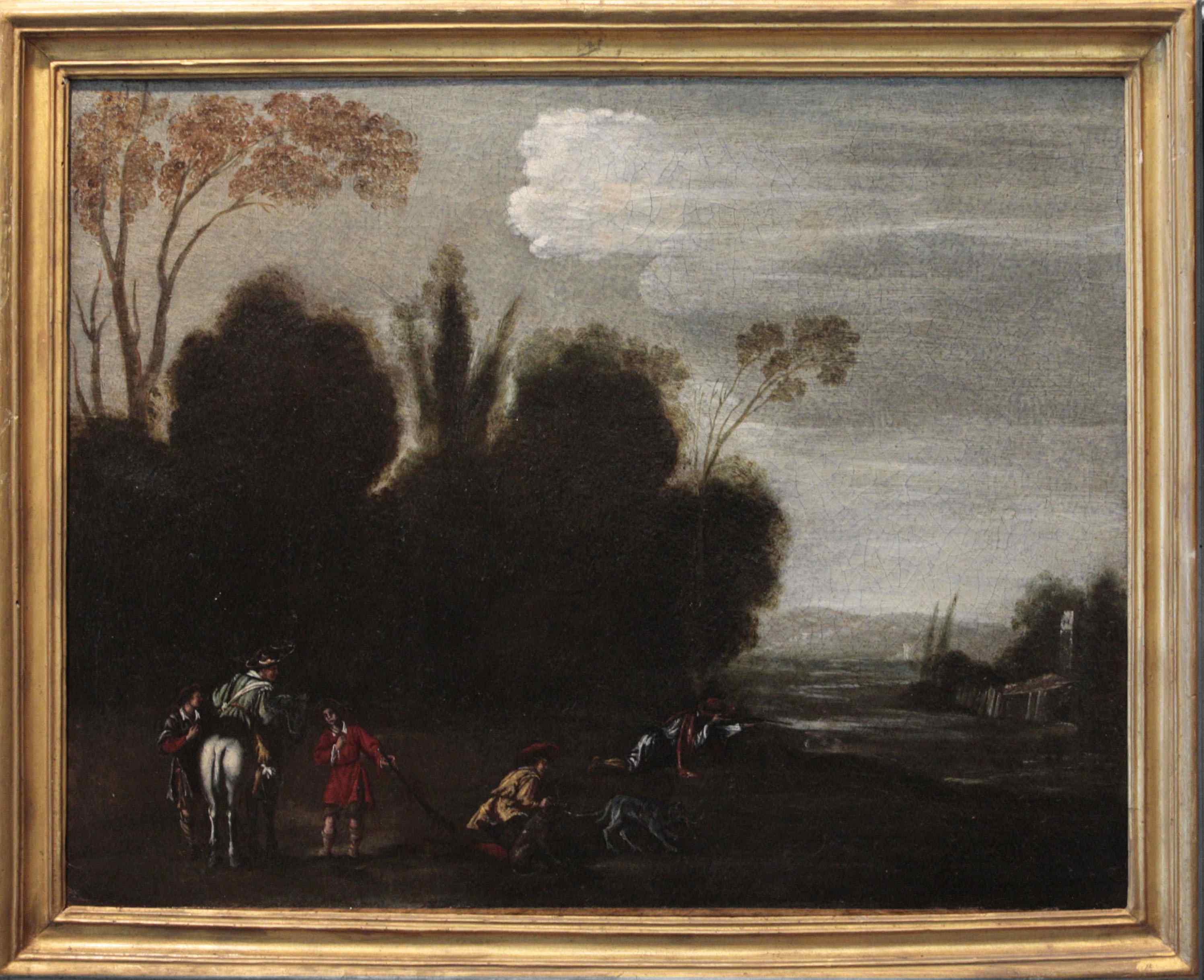Dipinto del '700, scena di caccia