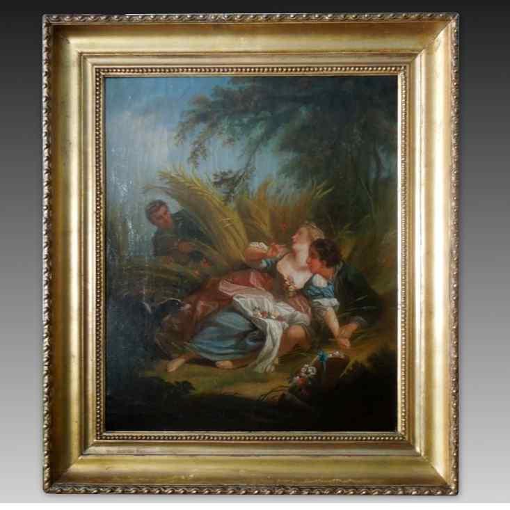 Античная масляная живопись на холсте с рамкой - 19 век