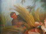 Античная масляная живопись на холсте с рамкой - 19 век-3
