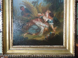 Antique oil painting on canvas with frame - 19th century-6