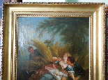 Antique oil painting on canvas with frame - 19th century-5