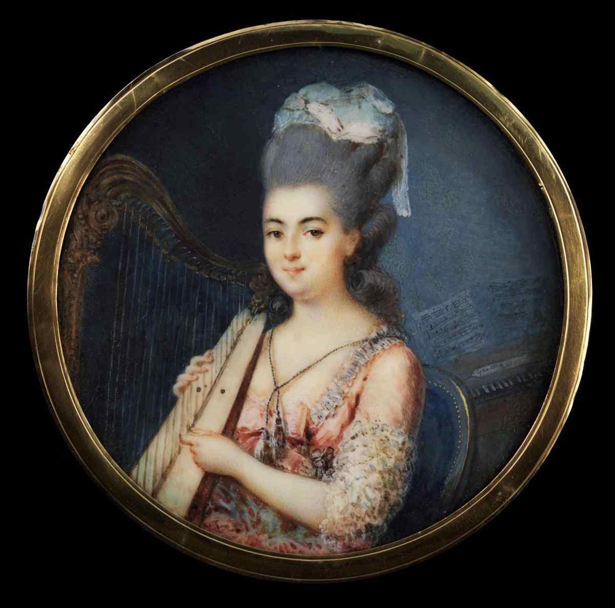 Французская школа «Портрет молодой девушки играющей на арфе»