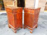 Ancien Paire Tables de Chevets Charles X -noyer-Italie 19ème-4