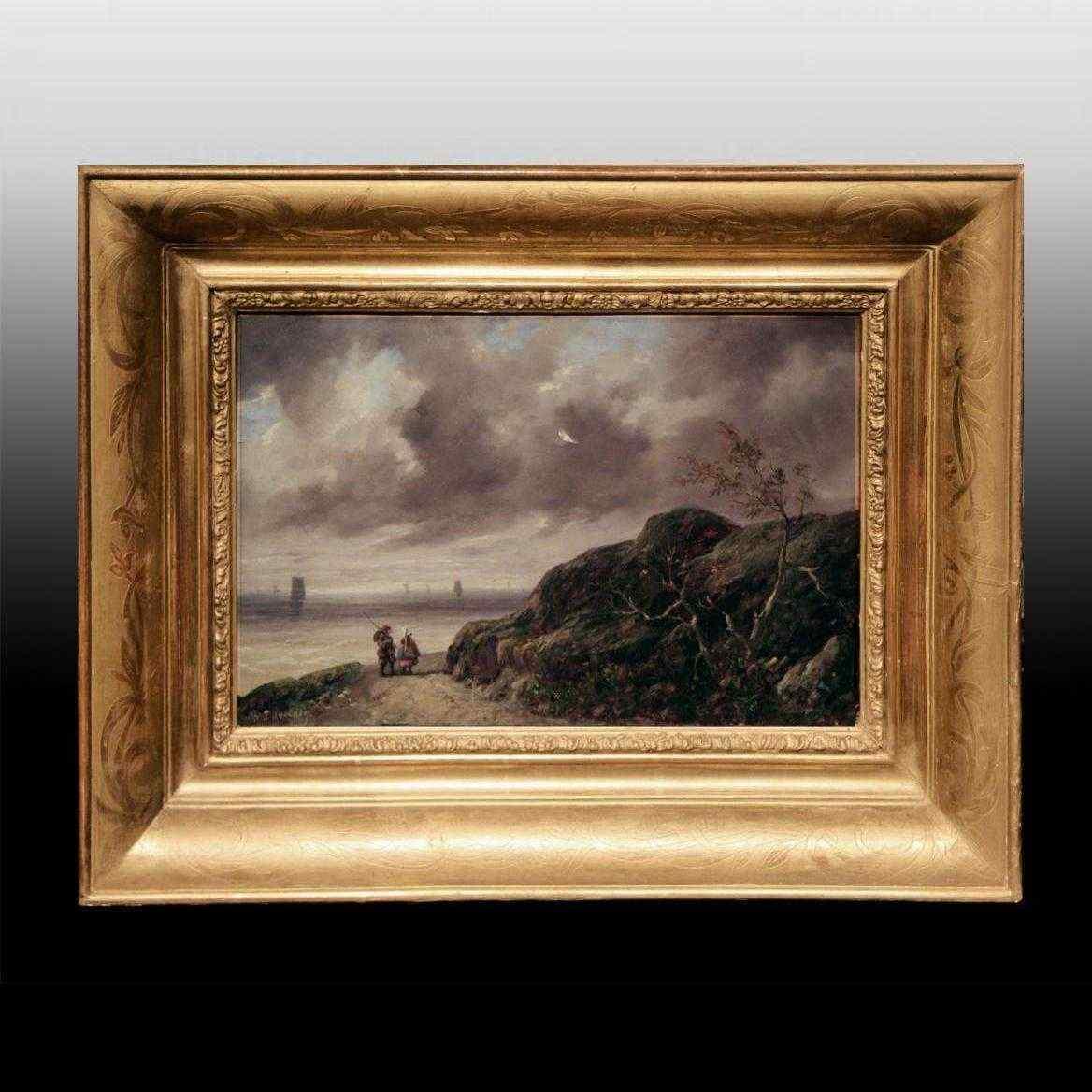 Quadro antico marina, Charles Duvernoy,  XIX secolo