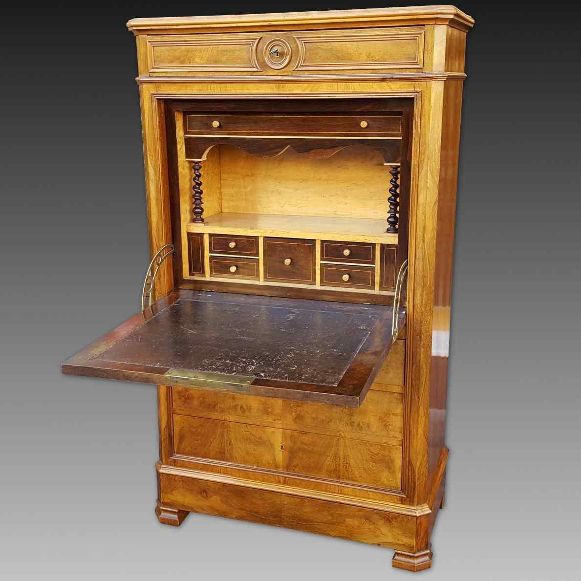 ancien secretaire louis philippe en noyer 19 me si cle. Black Bedroom Furniture Sets. Home Design Ideas