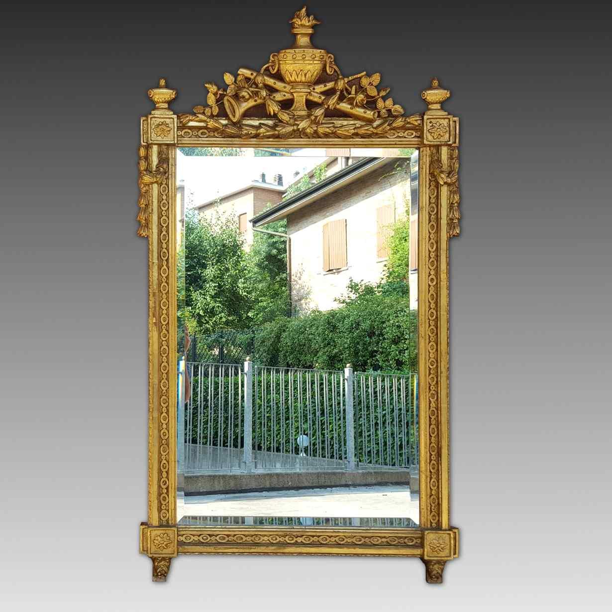 Античный позолоченный зеркало Наполеона III - 19 век