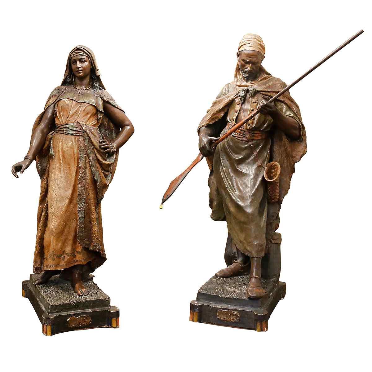 A Pair of Orientalist statues by Friedrich Goldscheider