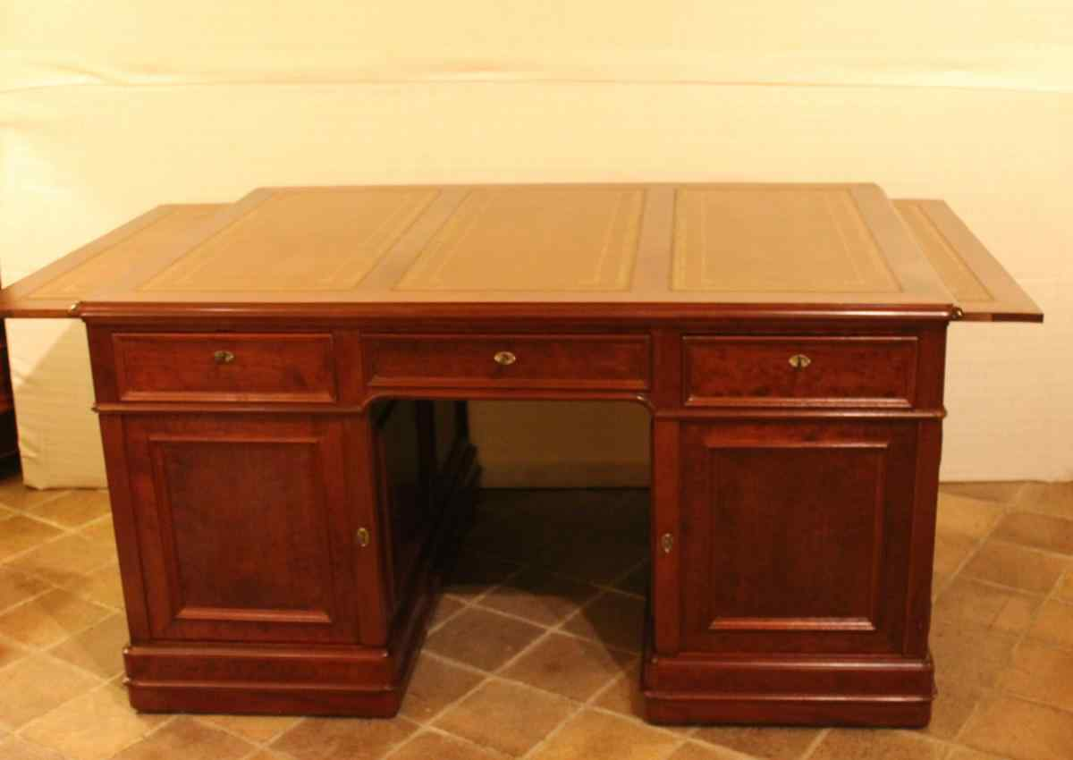 19th century mahogany partner desk, France.