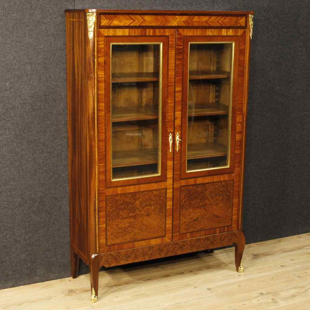 French inlaid showcase in mahogany wood