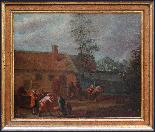 XVII, Scuola Fiamminga, Coppia di dipinti, Scene animate-8
