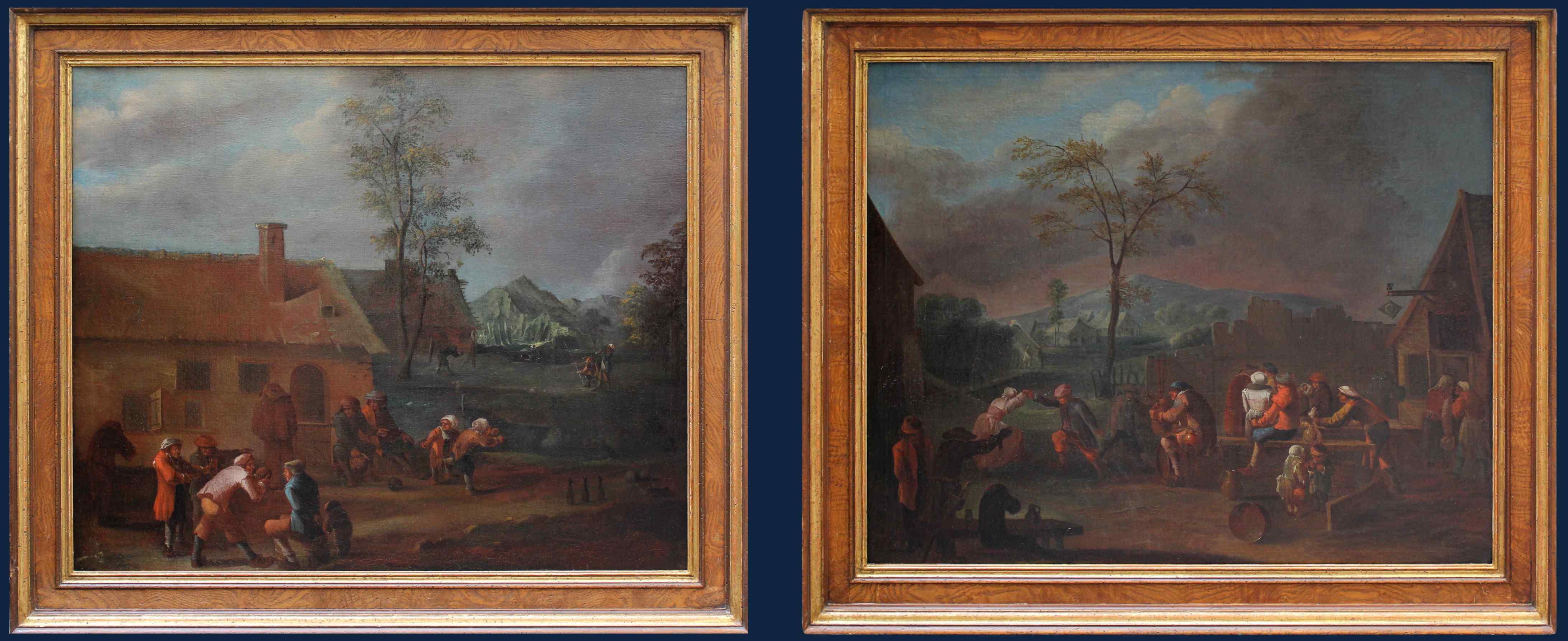 XVII, Scuola Fiamminga, Coppia di dipinti, Scene animate