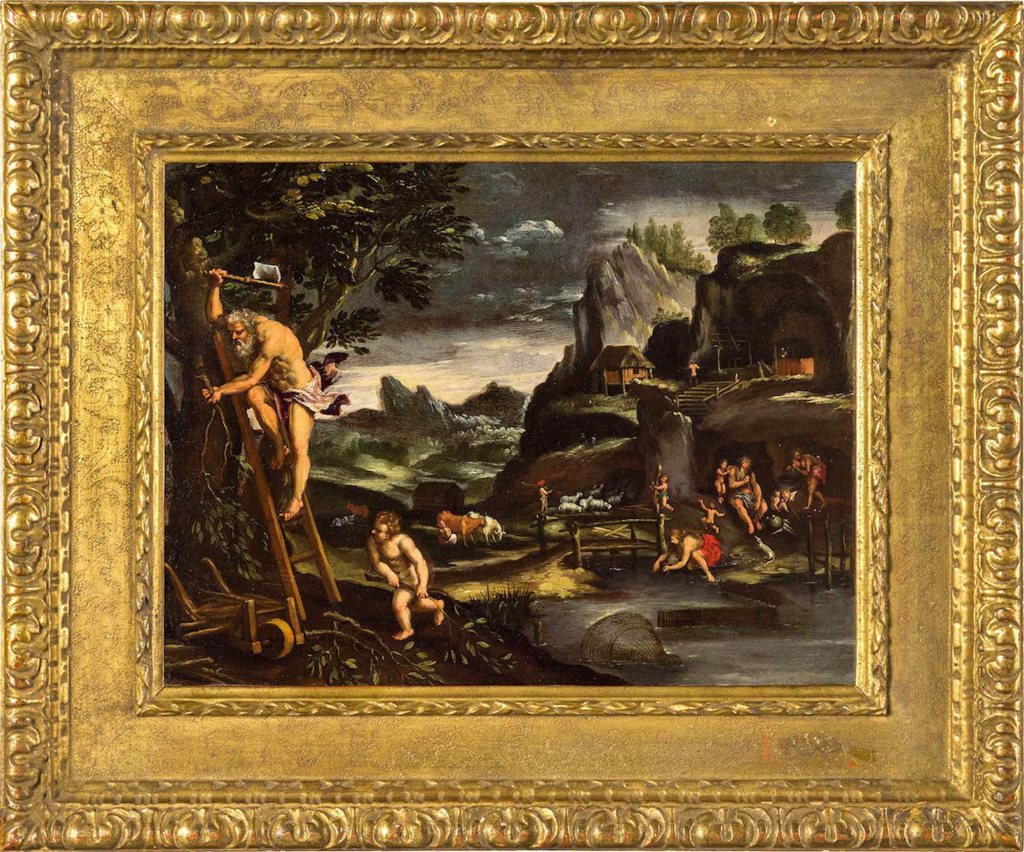Giovanni Francesco Grimaldi, Landscape with Adam and Eve