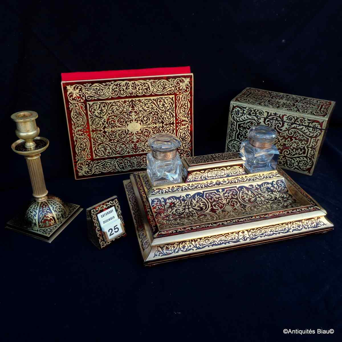 Boulle Marquetry Office Set Napoleon III