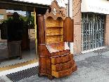 Старое бюро-библиотека в грецком орехе - Италия 19-го века-6