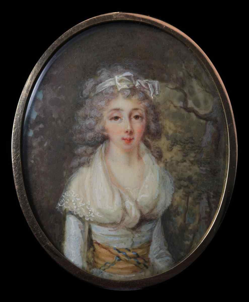 Scuola francese, Ritratto di una giovane donna, miniatura