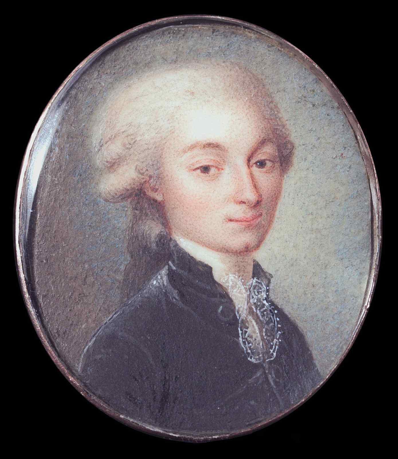 French School, Portrait of Antoine de Riocour,  miniature