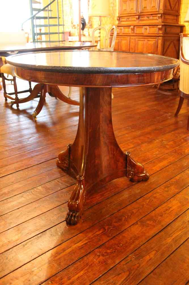 Empire Pedestal Table With Marble Orign