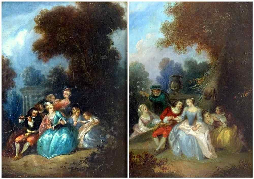 Seguace di Watteau: Pair Of Fancy Galantes