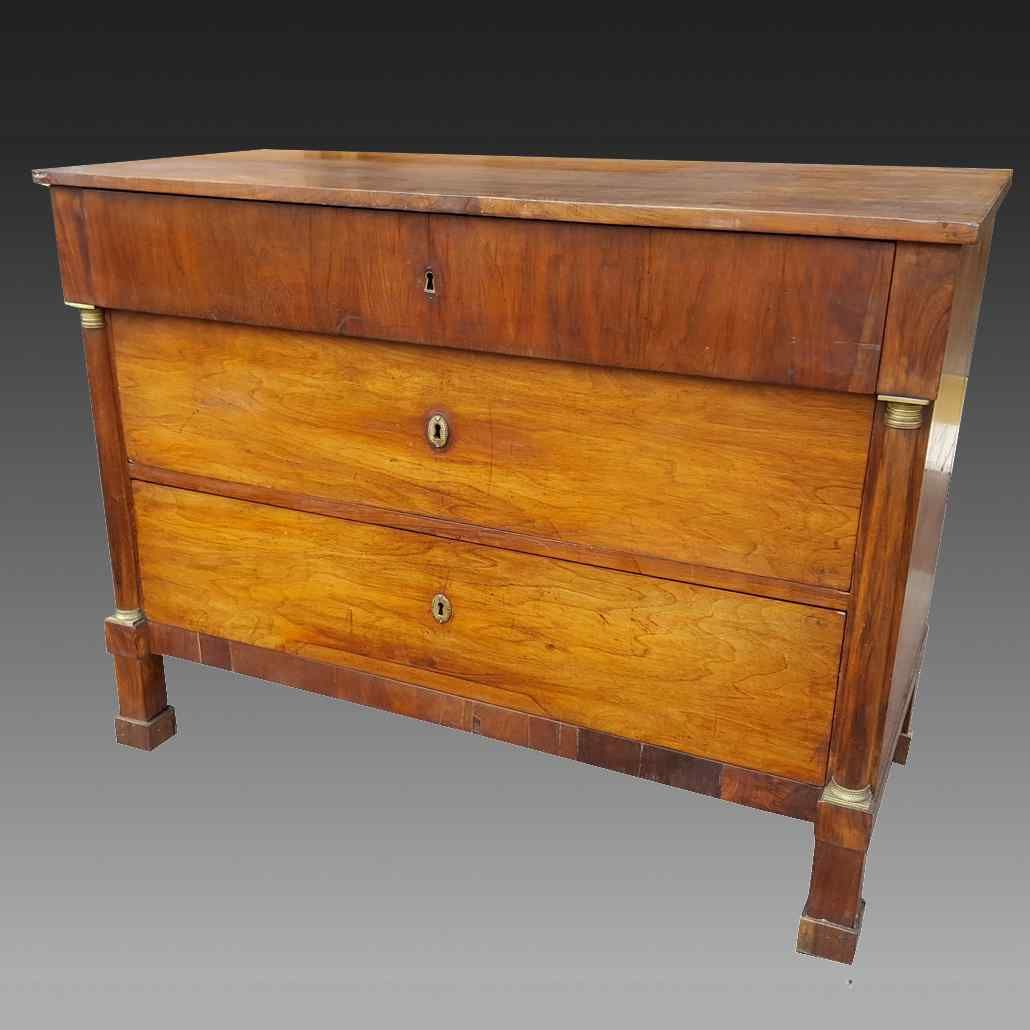 Antique Empire Commode Chest of drawers in walnut-Italy 19th