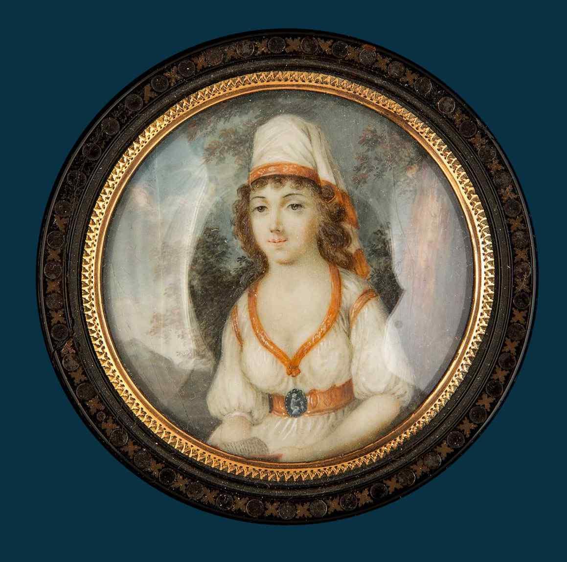 Ecole française, Portrait d'une dame, miniature