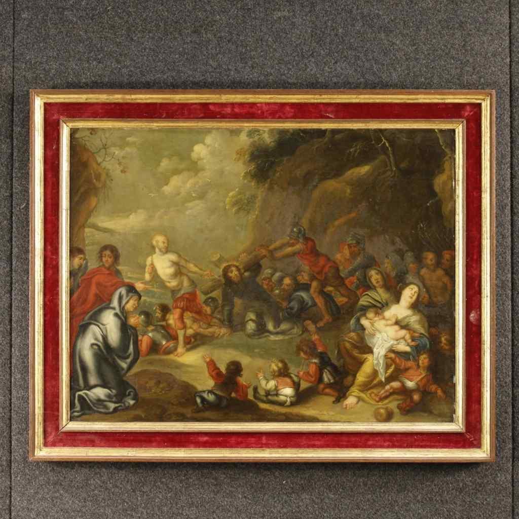 Ancien tableau hollandais religieux du 19ème siècle