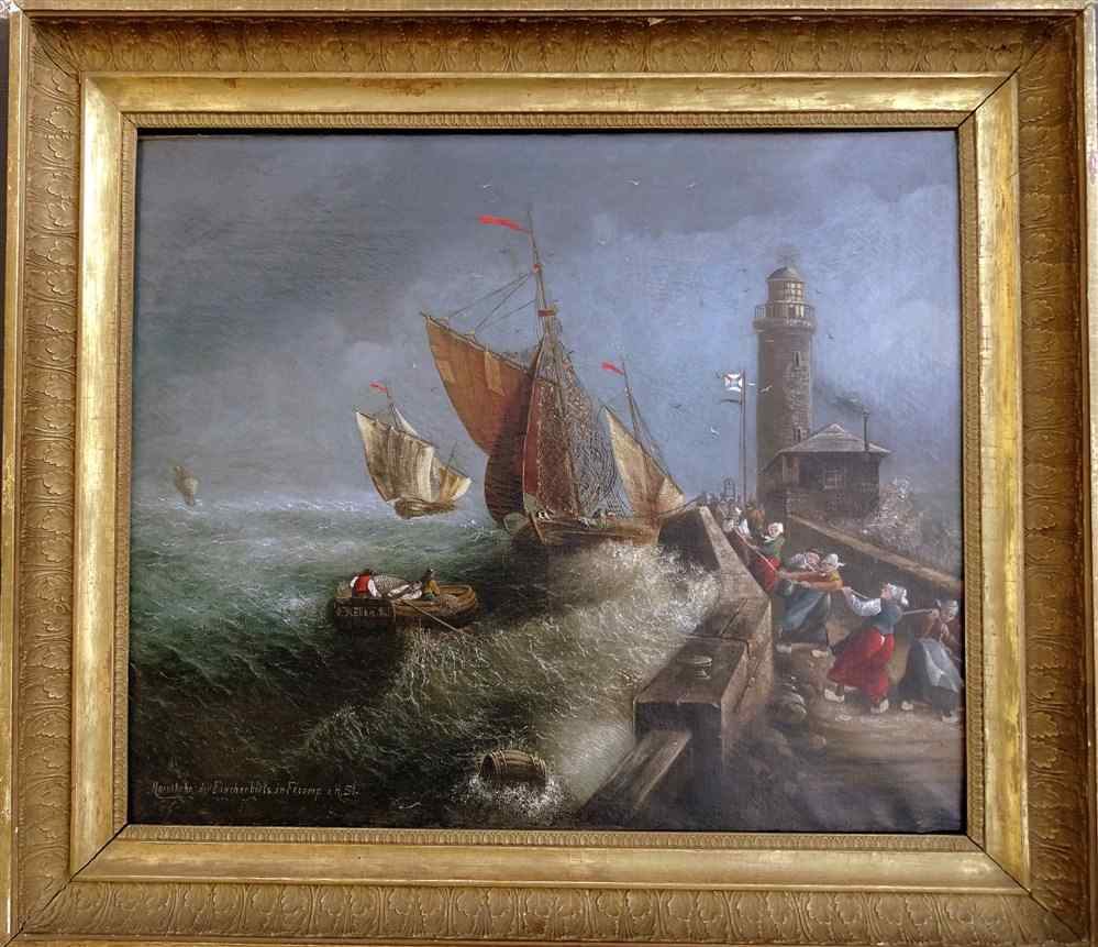 Рыбалка Назад в непогоду в Fécamp Ес. голландская 1815