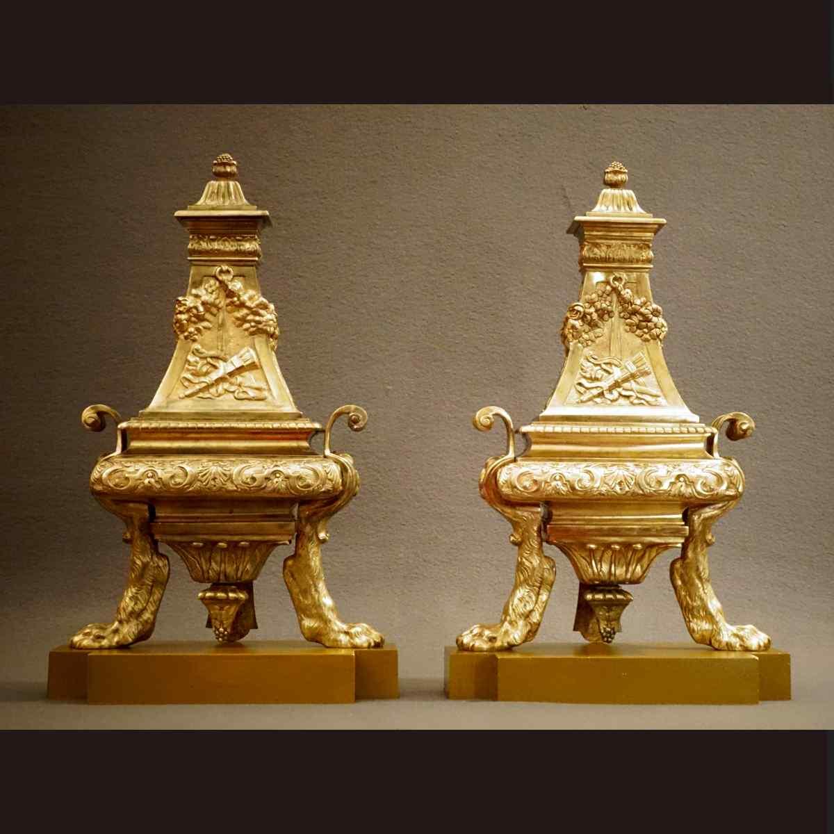 Pair Of Large Regency Style Andirons XIXth