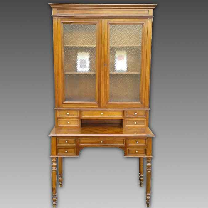 Antique Louis Philippe Desk Bookcase Bureau in walnut - 19th