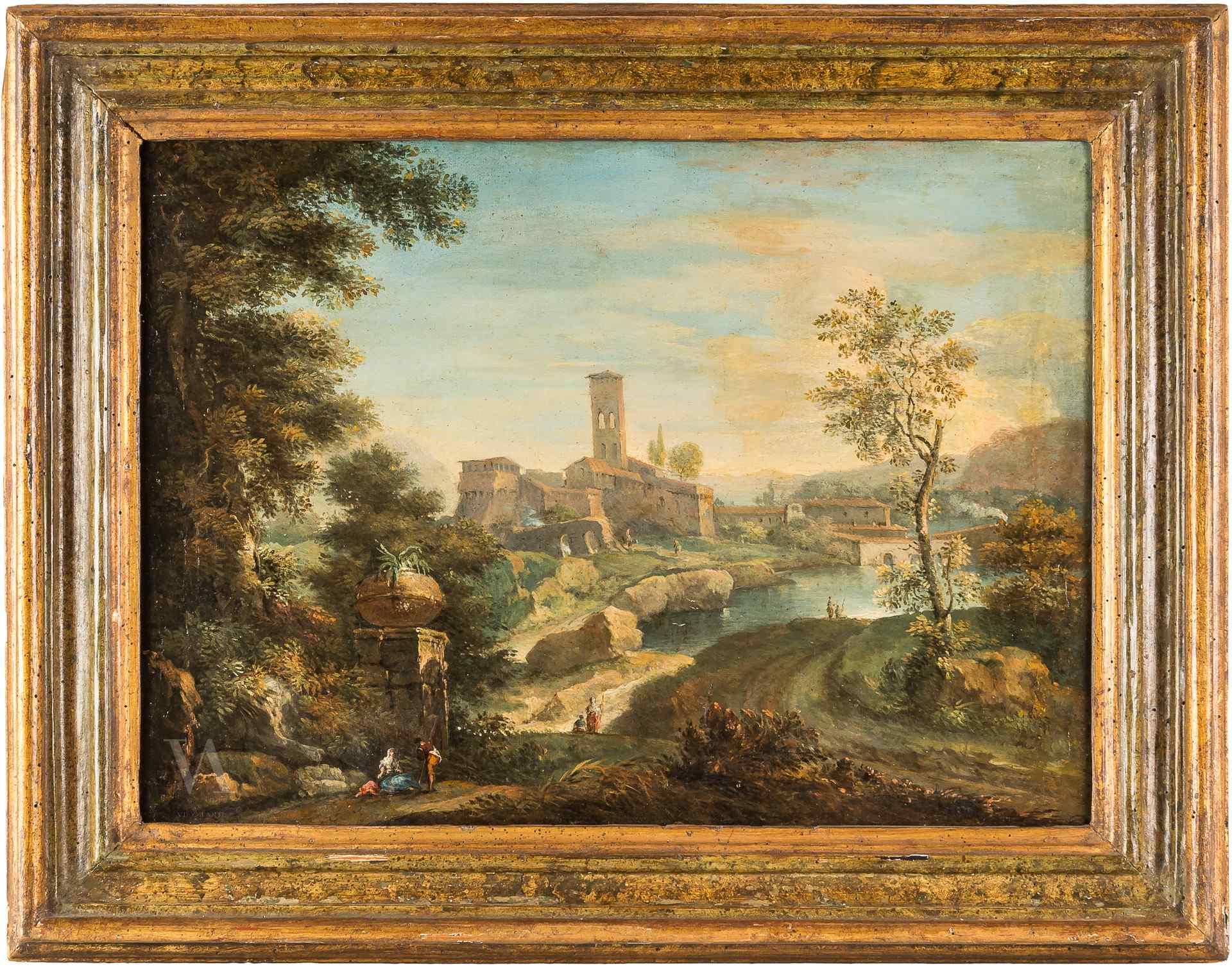 Paolo Anesi, paysage du lac. Rome, au XVIIIe siècle.